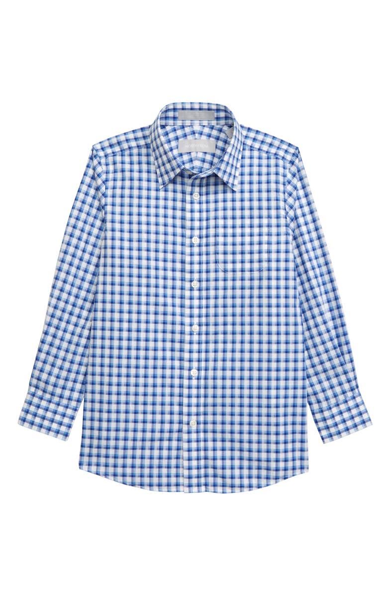 NORDSTROM Check Dress Shirt, Main, color, BLUE LAKE- WHITE CHECK