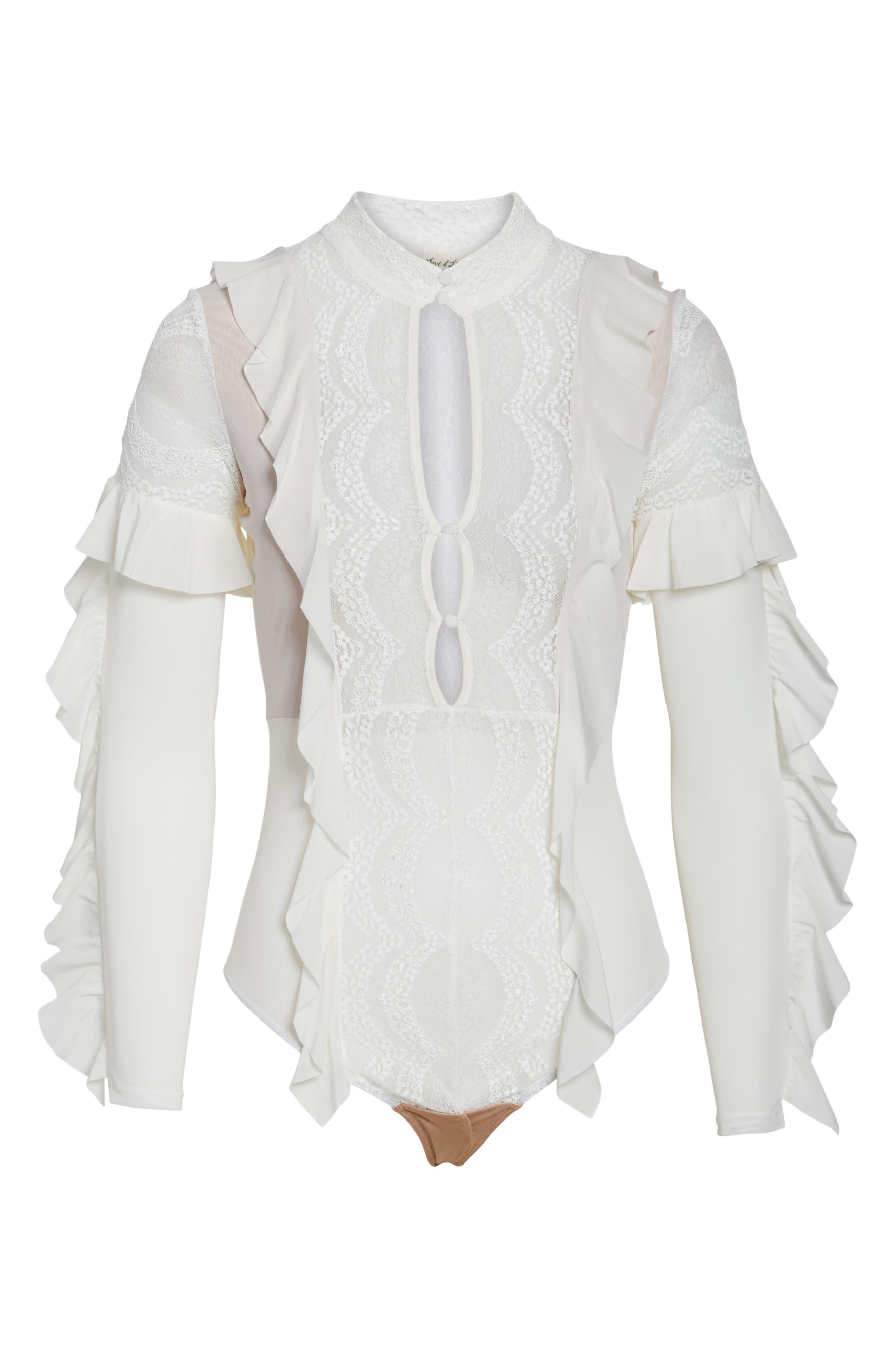 ,                             Eva Lace Ruffle Bodysuit,                             Alternate thumbnail 12, color,                             900