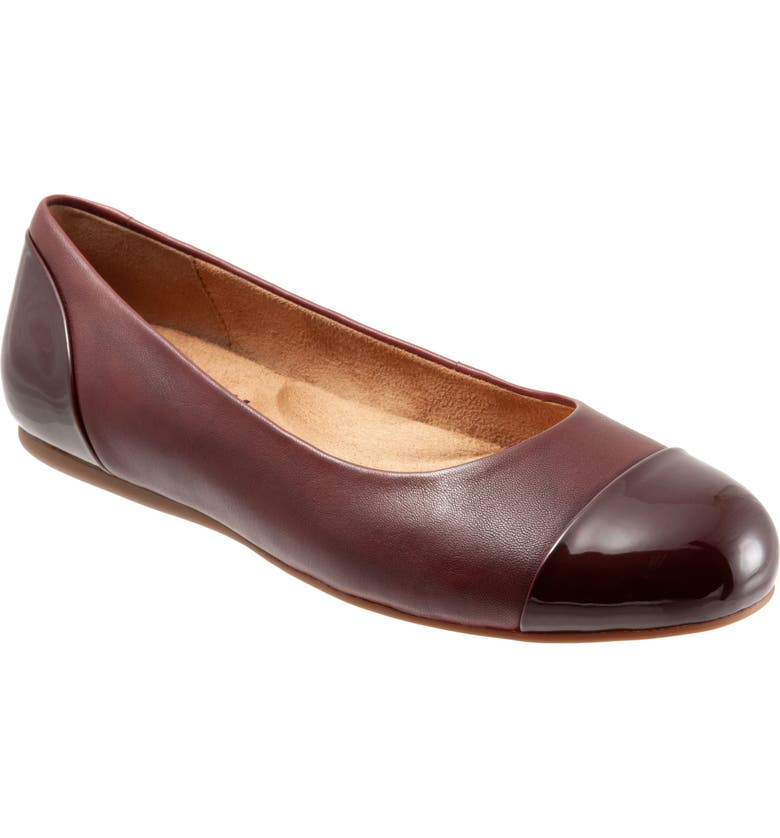 SOFTWALK<SUP>®</SUP> Sonoma Cap Toe Flat, Main, color, DARK RED LEATHER