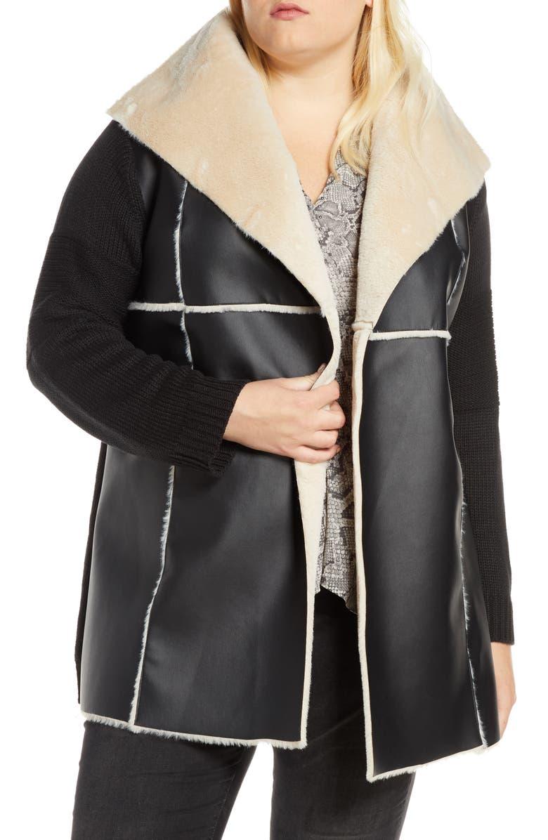 SINGLE THREAD Faux Shearling Sweater Jacket, Main, color, BLACK