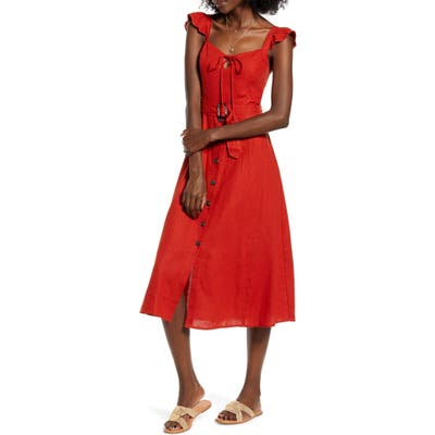 Band Of Gypsies Honeysuckle Linen Blend Midi Dress, Red