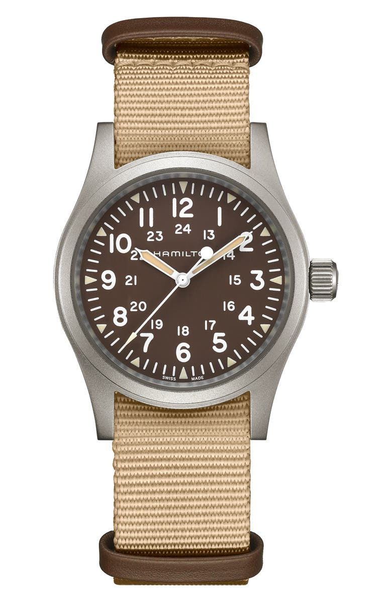 HAMILTON Khaki Field Mechanical NATO Strap Watch, 38mm, Main, color, BEIGE/ BROWN/ SILVER