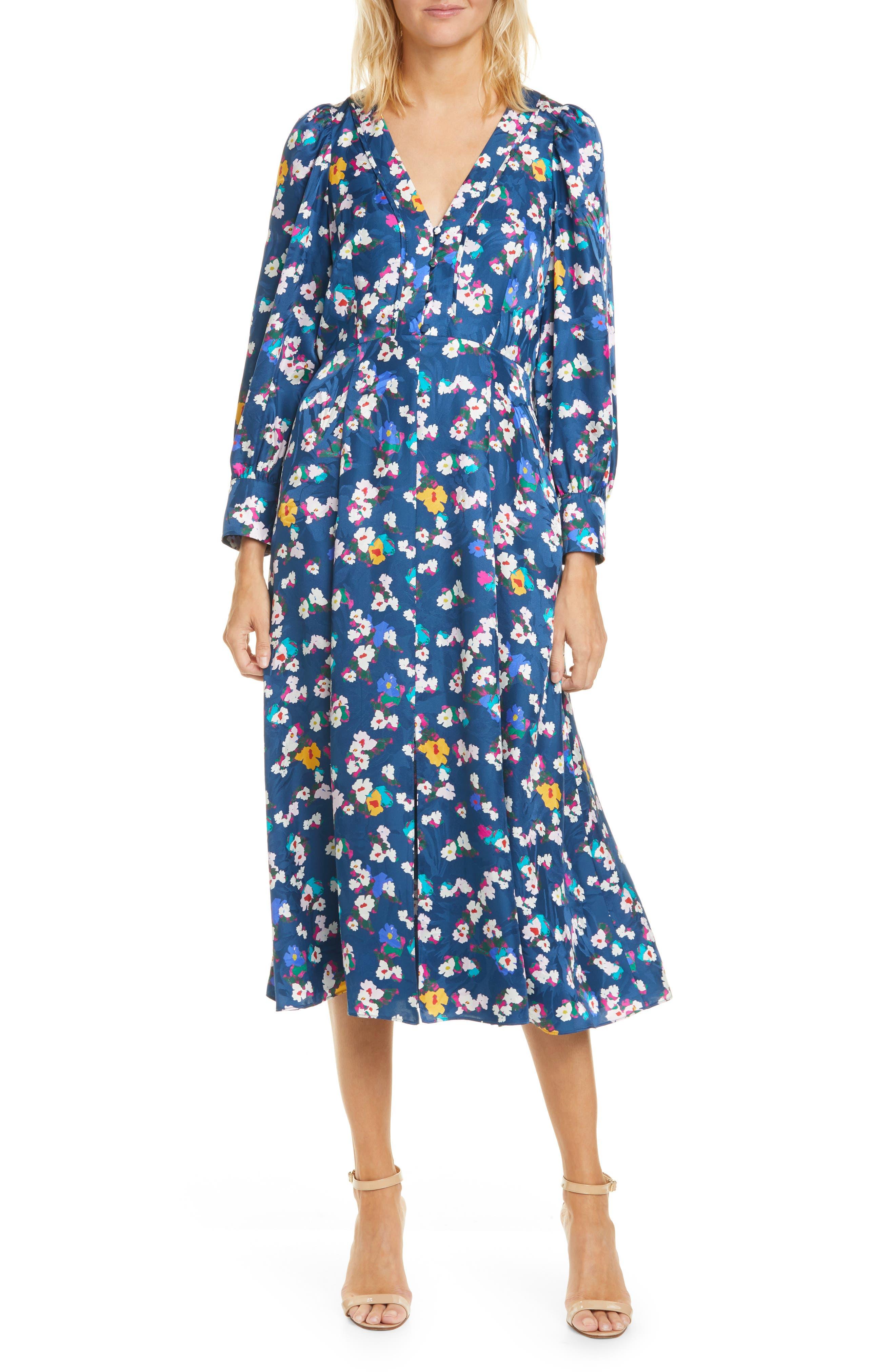 1930s Art Deco Plus Size Dresses | Tea Dresses, Party Dresses Womens Tanya Taylor Thelma Floral Silk Jacquard Long Sleeve Silk Midi Dress $695.00 AT vintagedancer.com