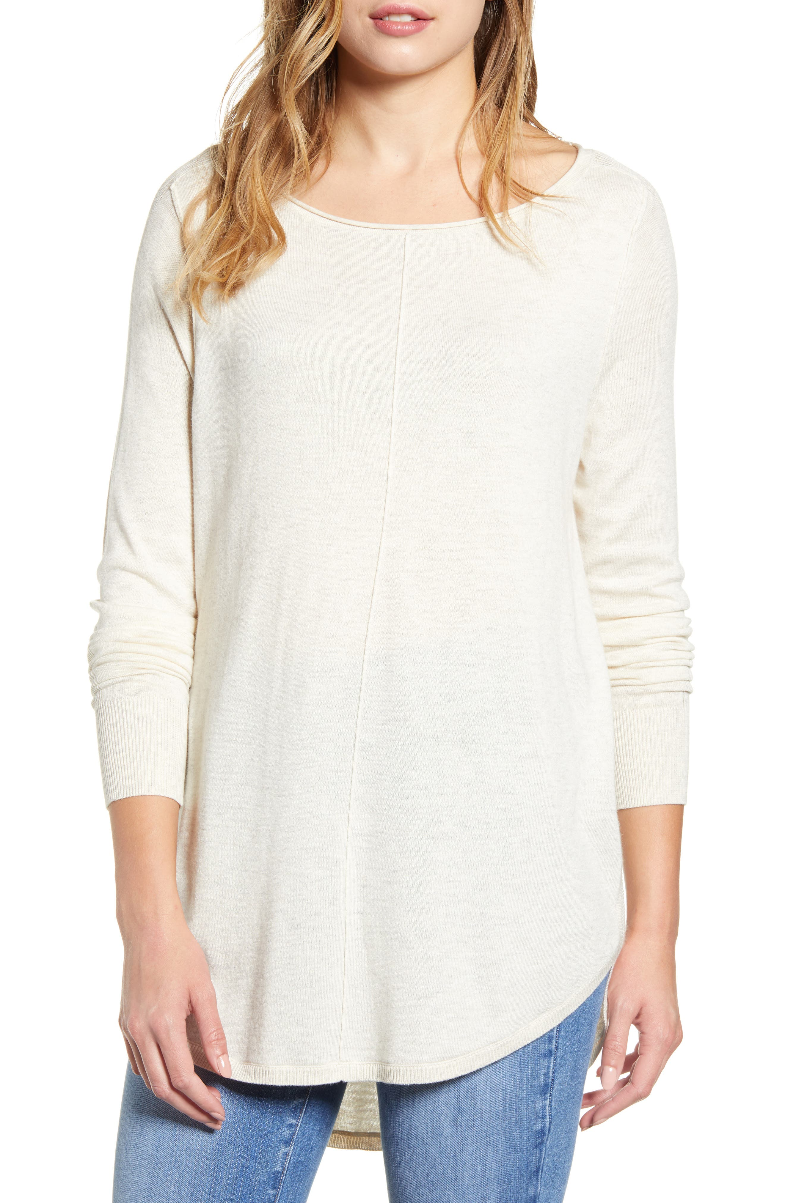 Caslon® Shirttail Tunic Sweater (Regular & Petite)