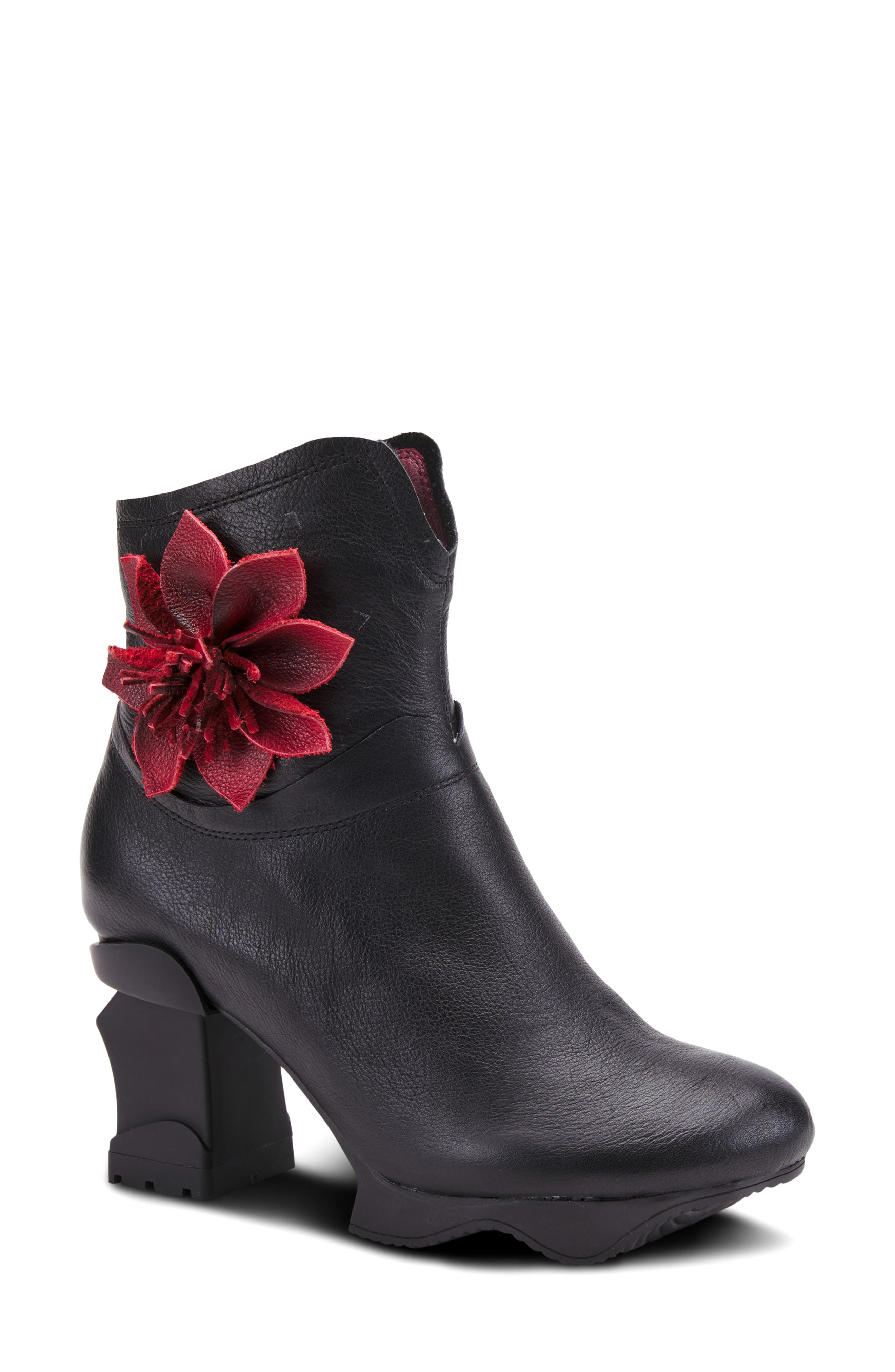 A dimensional leather flower blooms at the ankle of this statement bootie grounded by a sculptural wave-textured platform and heel. Style Name:L\\\'Artiste Flockrol Bootie (Women). Style Number: 6117453. Available in stores.