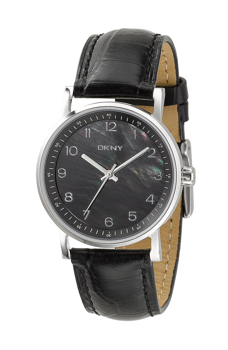 DKNY Mother-of-Pearl Watch, Main, color, Black