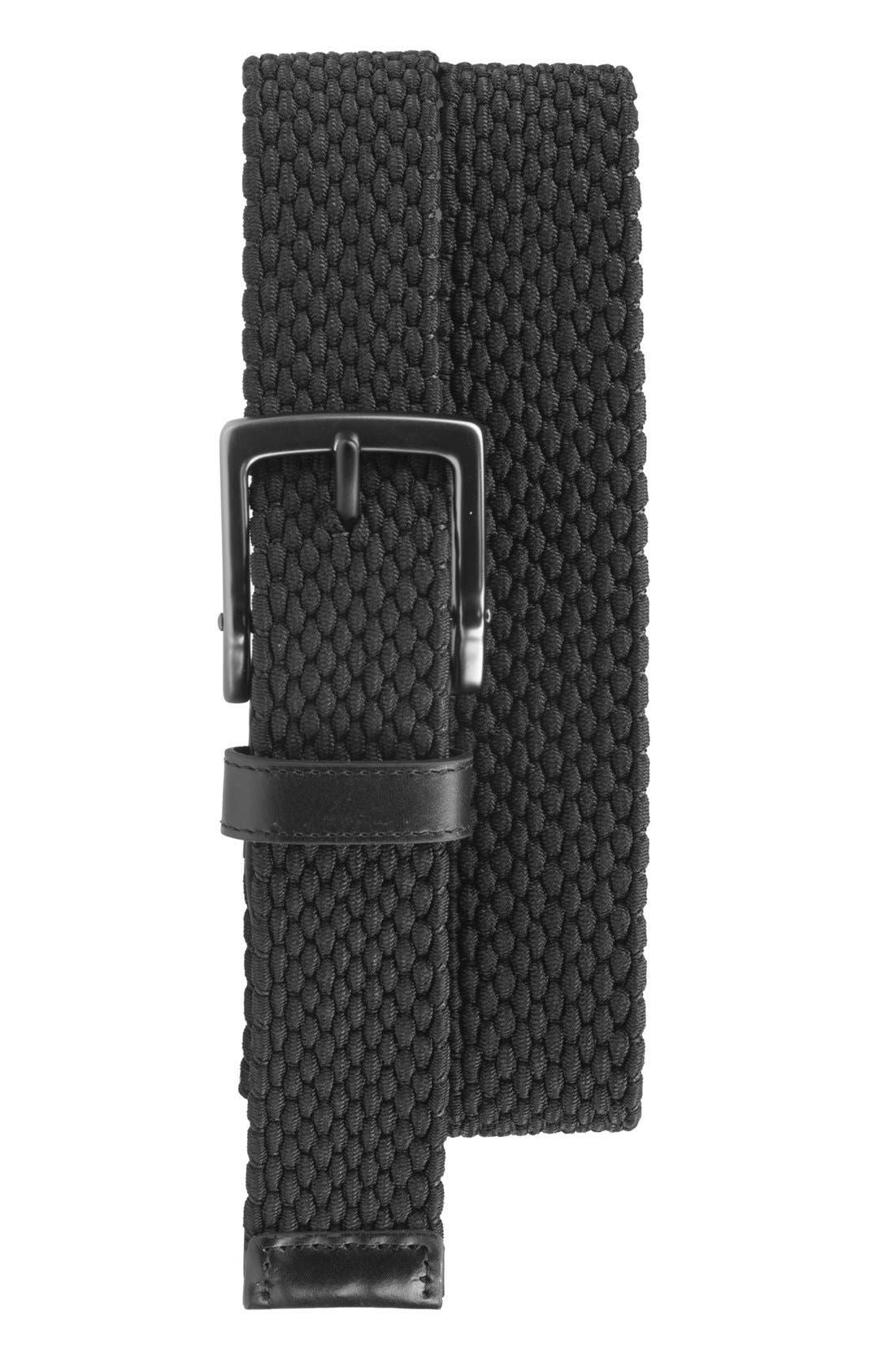,                             Stretch Woven Belt,                             Main thumbnail 1, color,                             BLACK