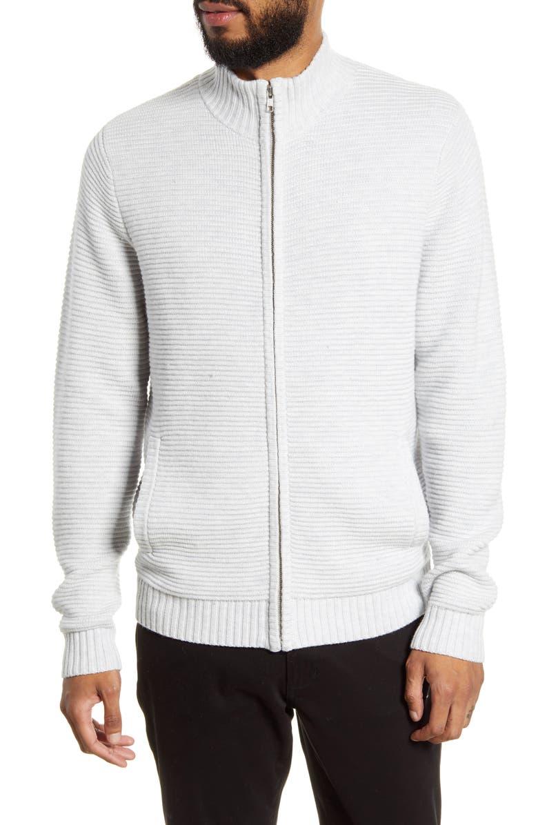 CALIBRATE Full Zip Sweater, Main, color, GREY MICRO HEATHER