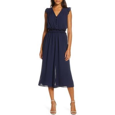 Adelyn Rae Clara Ruffle Sleeve Chiffon Jumpsuit, Blue