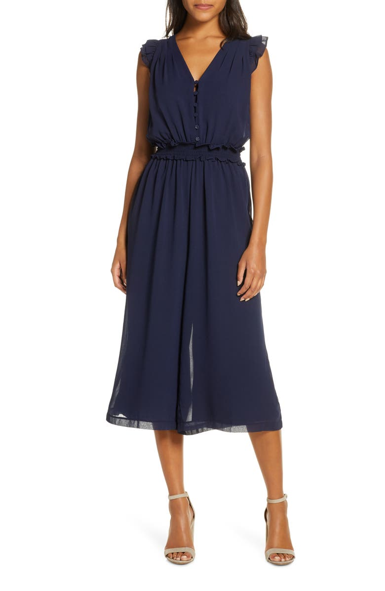 ADELYN RAE Clara Ruffle Sleeve Chiffon Jumpsuit, Main, color, NAVY