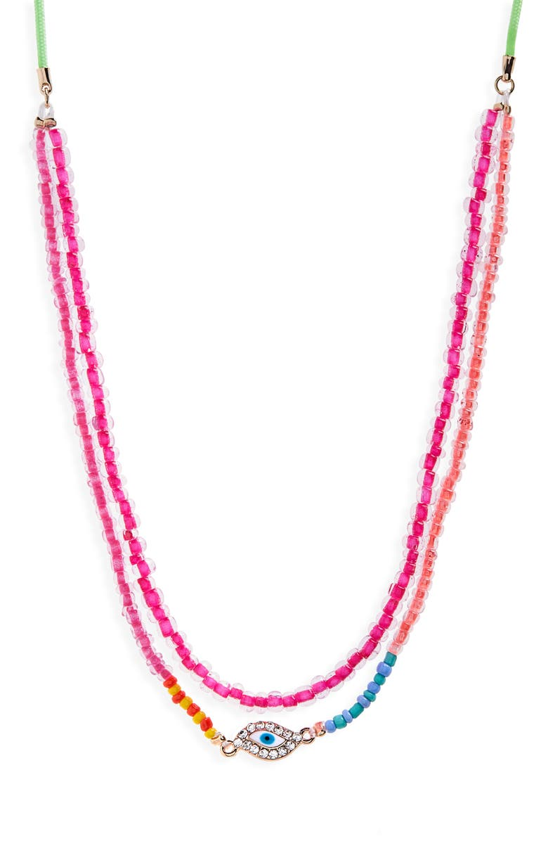 CARA Layered Charm Necklace, Main, color, MULTI