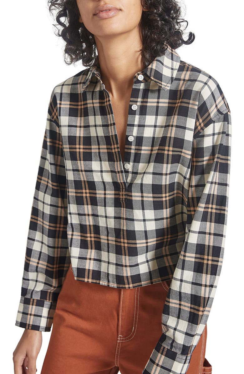 CURRENT/ELLIOTT The Mets Crop Button-Up Shirt, Main, color, HELENA PLAID