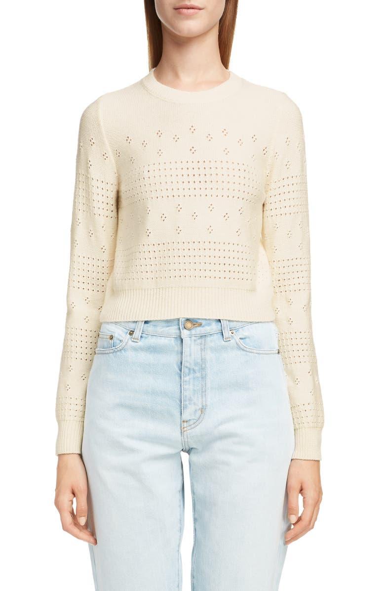 SAINT LAURENT Eyelet Detail Wool Blend Sweater, Main, color, 900