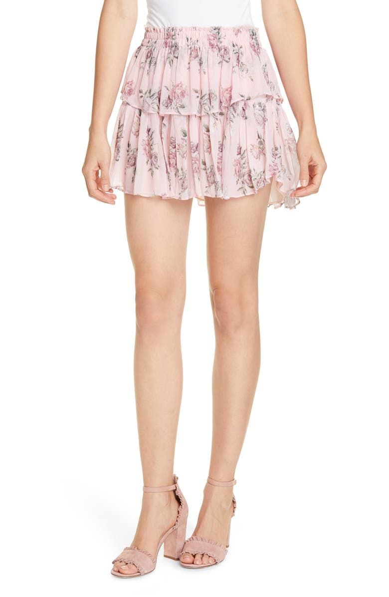 LOVESHACKFANCY Ruffle Floral Silk Miniskirt, Main, color, PINK CANOPY