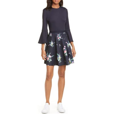 Ted Baker London Hadlley Floral Trumpet Sleeve Dress, Blue