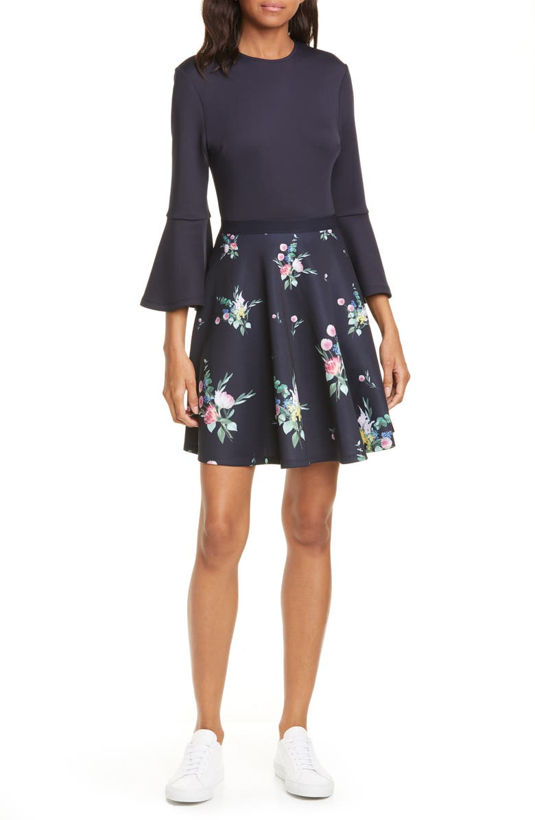 TED BAKER LONDON Hadlley Floral Trumpet Sleeve Dress, Main, color, NAVY