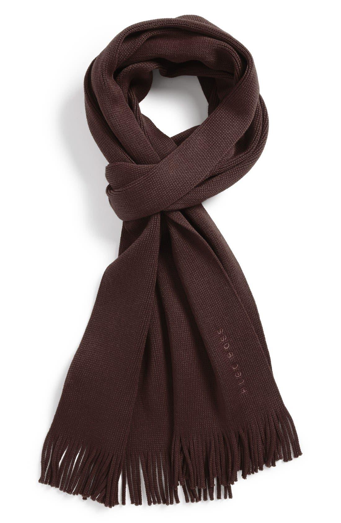 Boss Hugo Boss Mens Solid Brown Wool Scarf