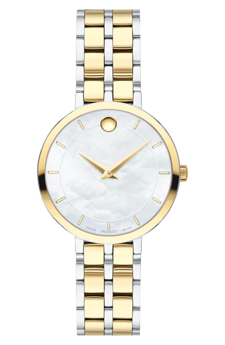 MOVADO Kora Bracelet Watch, 28mm, Main, color, GOLD/ WHITE MOP/ SILVER