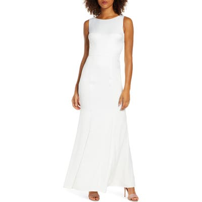 Chi Chi London Nora Lace Back Satin Trumpet Gown, White