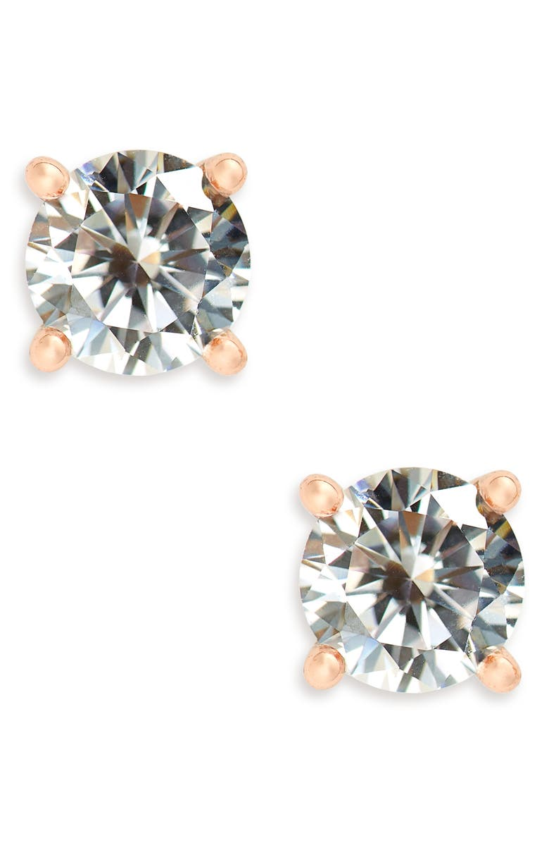 NORDSTROM Cubic Zirconia Stud Earrings, Main, color, CLEAR- ROSE GOLD