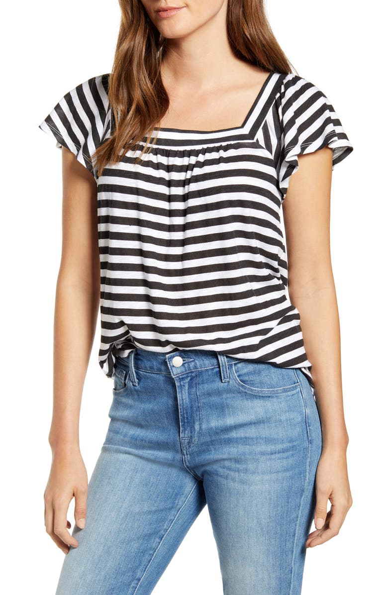 GIBSON x Hi Sugarplum! Malta Square Neck Ruffle Sleeve Cotton Blend Tee, Main, color, BLACK/ WHITE STRIPE