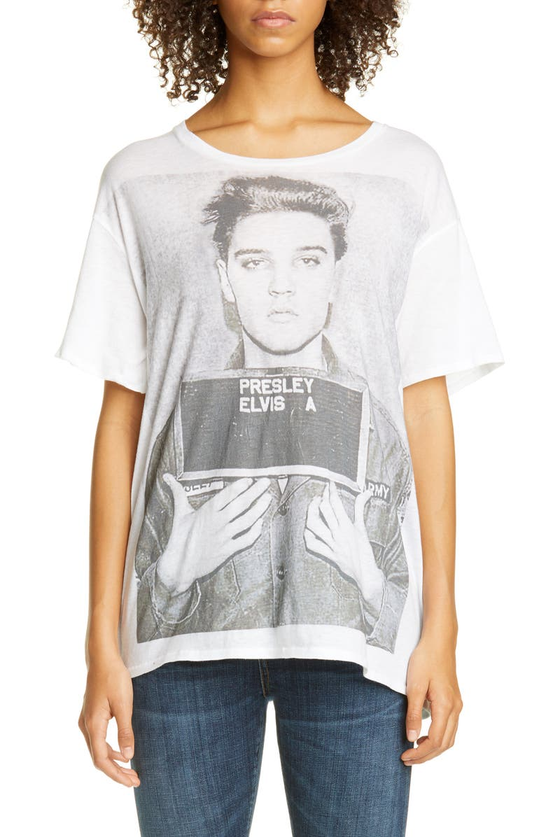 R13 Elvis Mugshot Graphic Tee, Main, color, WHITE
