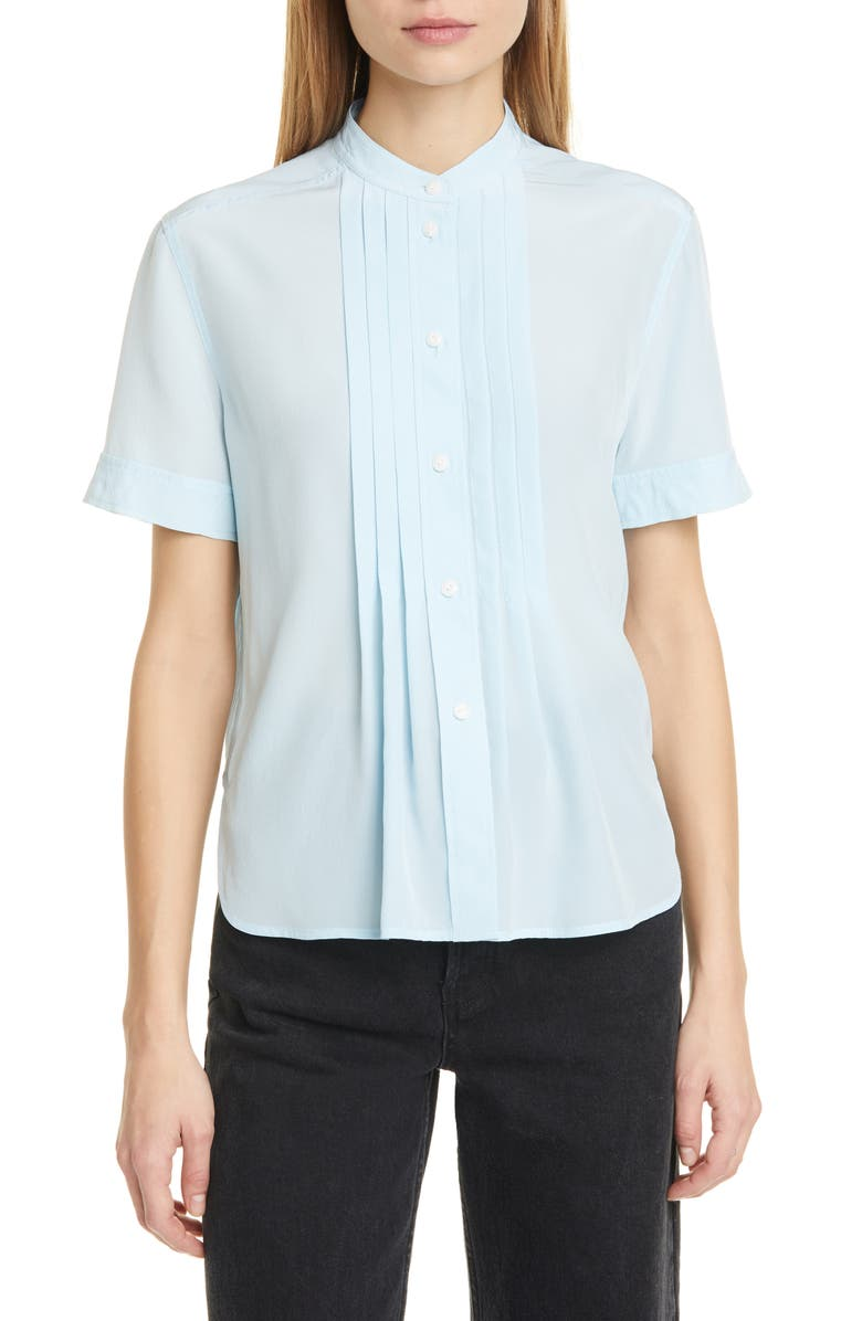 RAG & BONE Sarah Pleated Silk Blouse, Main, color, ICE BLUE