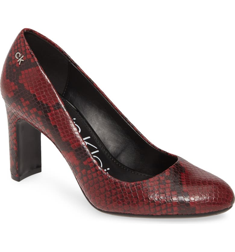 CALVIN KLEIN Octavia Block Heel, Main, color, BARN RED LEATHER