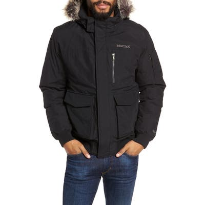Marmot Stonehaven Waterproof 700 Fill Power Down Jacket With Faux Fur Trim, Black