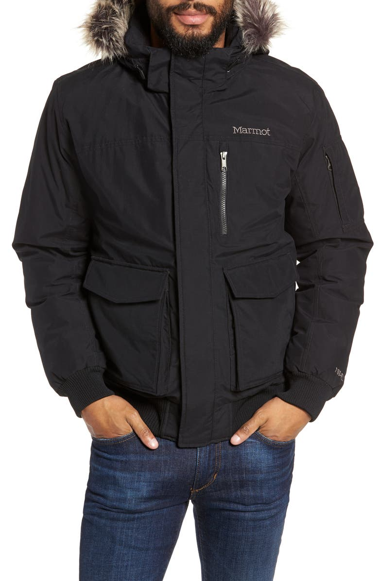 MARMOT Stonehaven Waterproof 700 Fill Power Down Jacket with Faux Fur Trim, Main, color, BLACK
