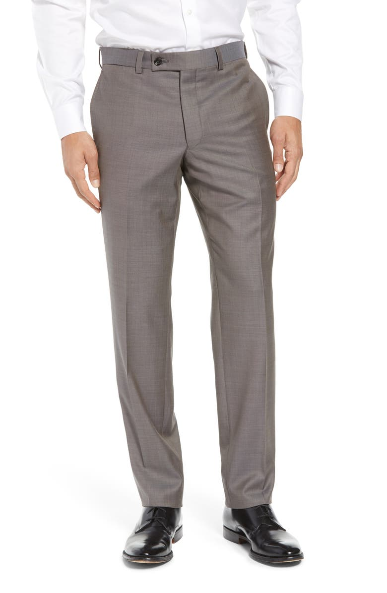 TED BAKER LONDON Jefferson Flat Front Wool Dress Pants, Main, color, GREY