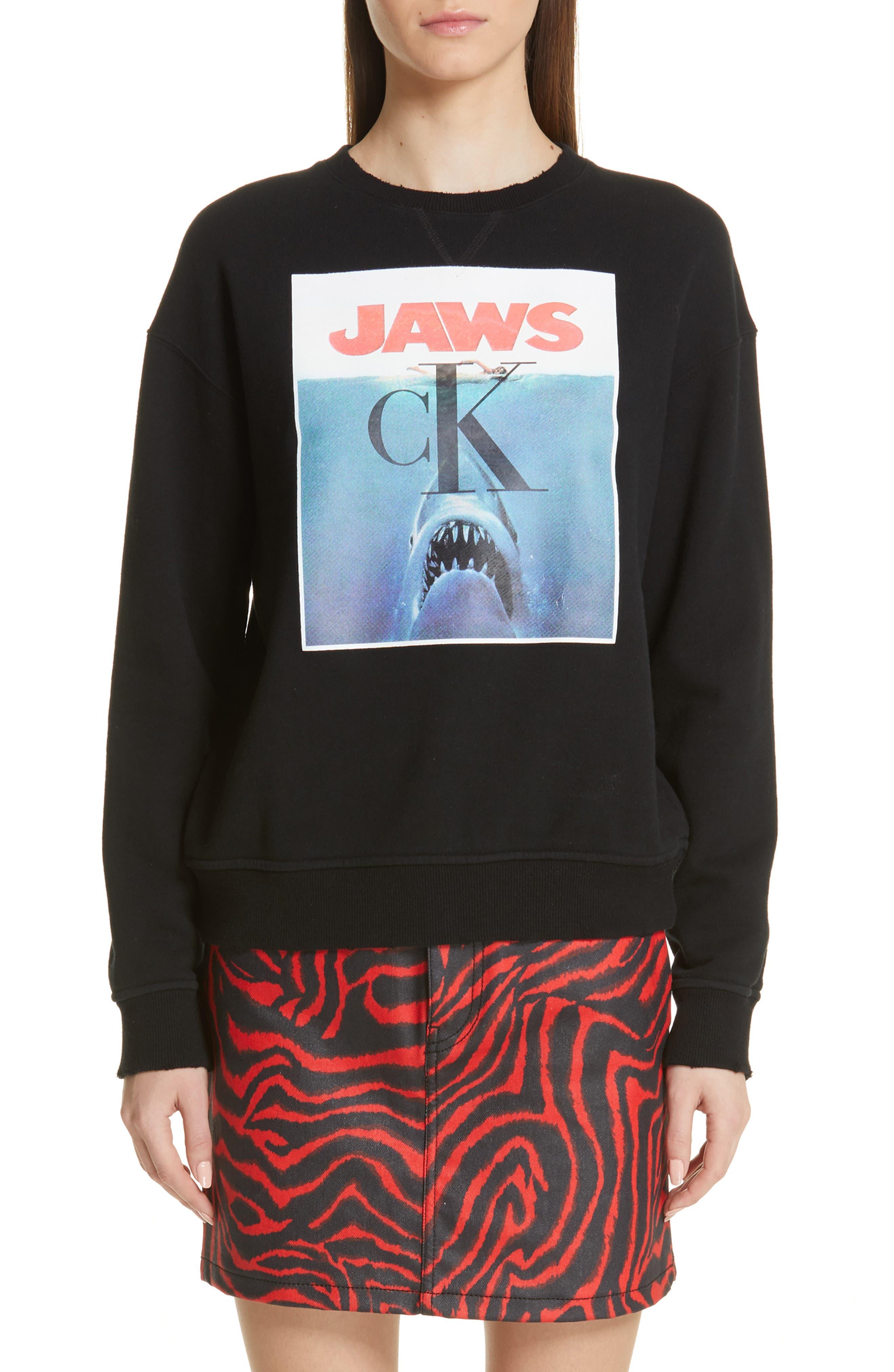 ,                             'Jaws' Graphic Sweatshirt,                             Main thumbnail 1, color,                             BLACK