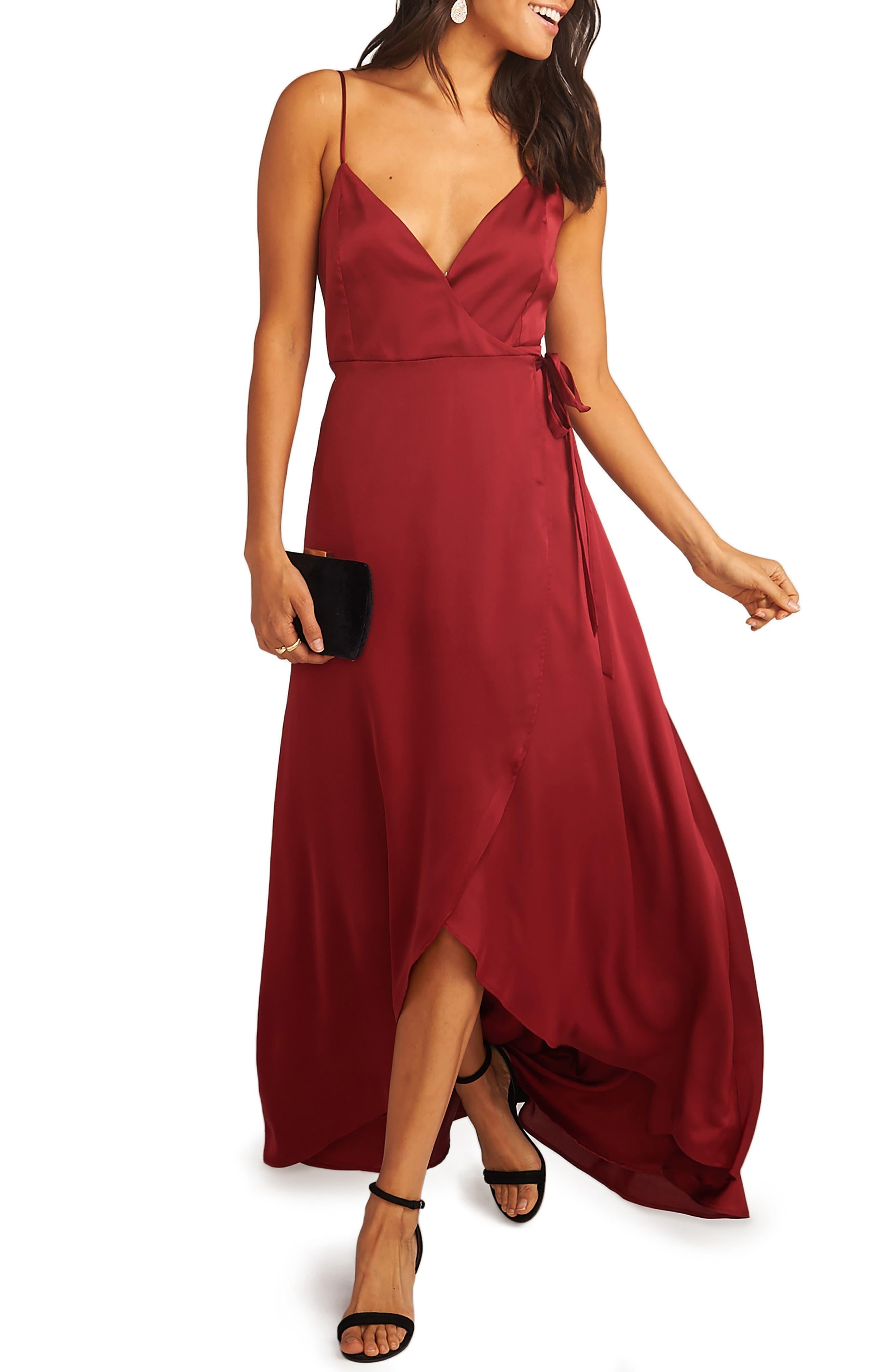 Show Me Your Mumu Mariah Wrap Evening Dress, Red