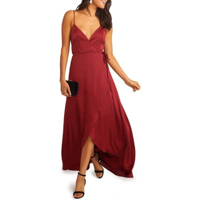 Show Me Your Mumu Mariah Wrap Evening Dress, Red