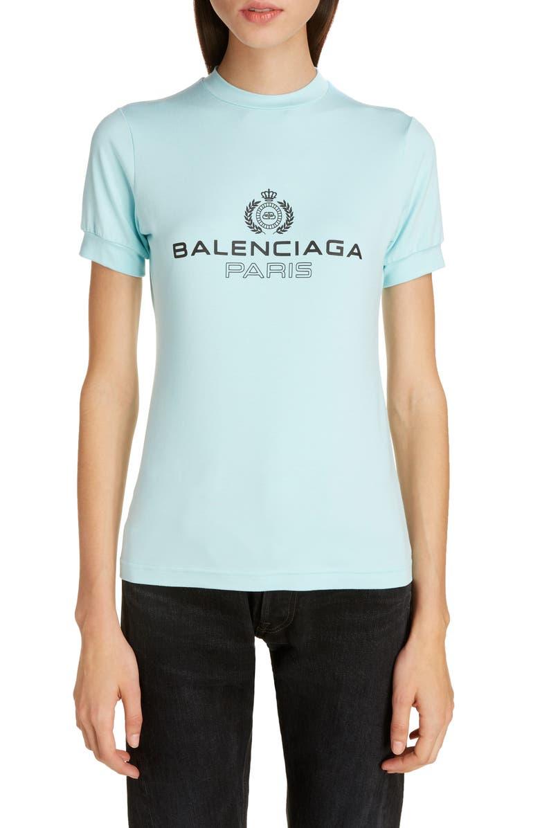 BALENCIAGA Paris Logo Tee, Main, color, CANDY BLUE