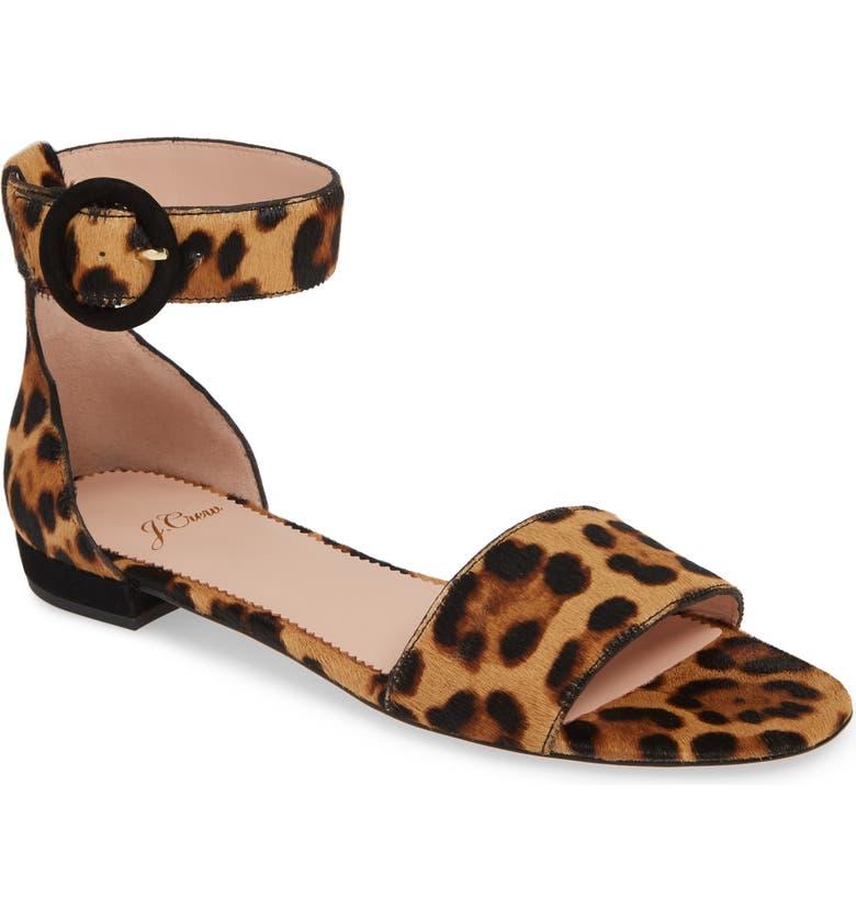 00ad91c8038 J.Crew Leopard Print Calf Hair Ankle Strap Flat Sandal (Women ...