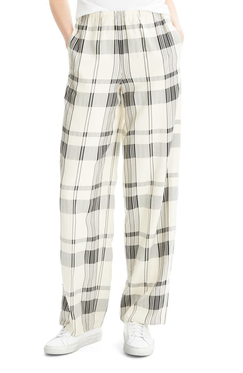 THEORY Plaid Pants, Main, color, IVORY/ BLACK