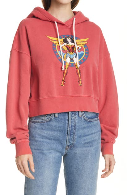 Re/done WW84 COMIC CROP GRAPHIC HOODIE