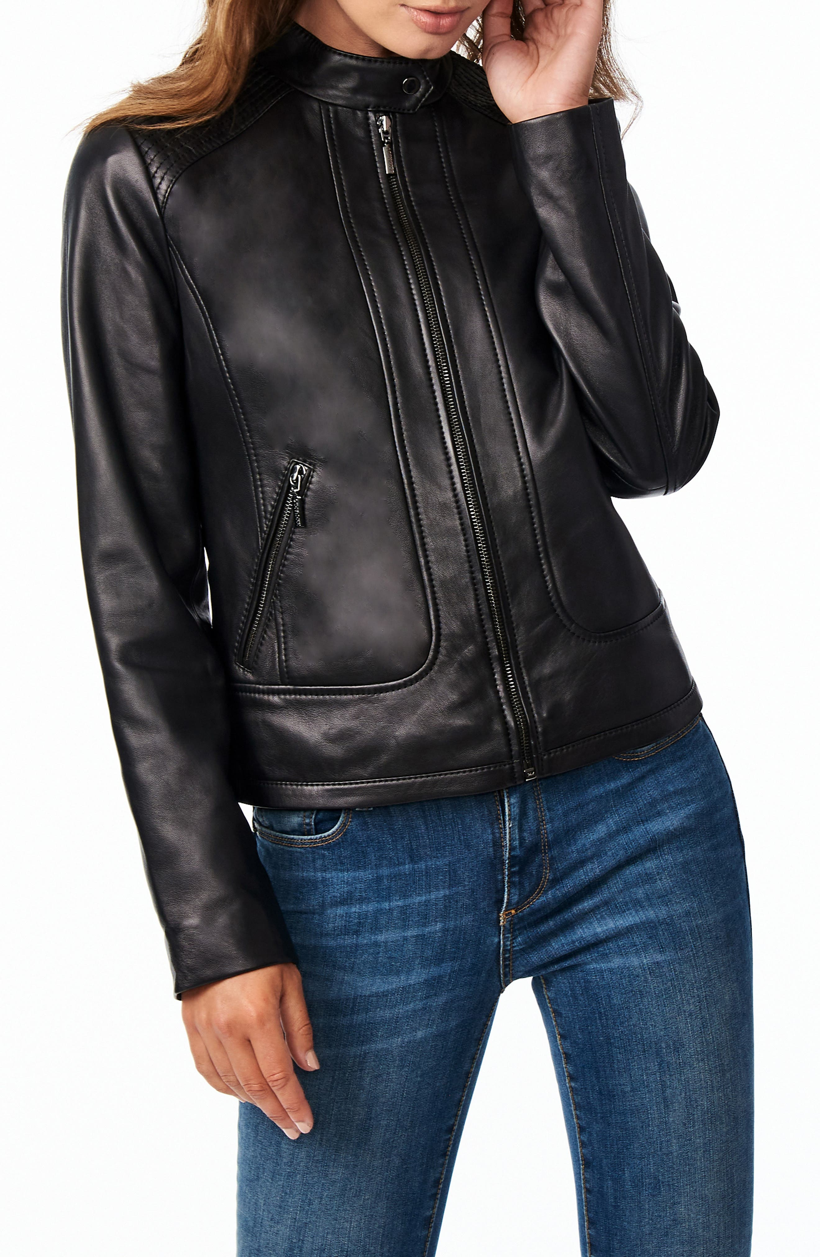 A snap band collar and reinforced stitches on the shoulders and back yoke highlight the moto-racing influences of this supple sheepskin-leather jacket. Style Name: Bernardo Stitch Detail Sheepskin Leather Racer Jacket. Style Number: 6109435. Available in stores.