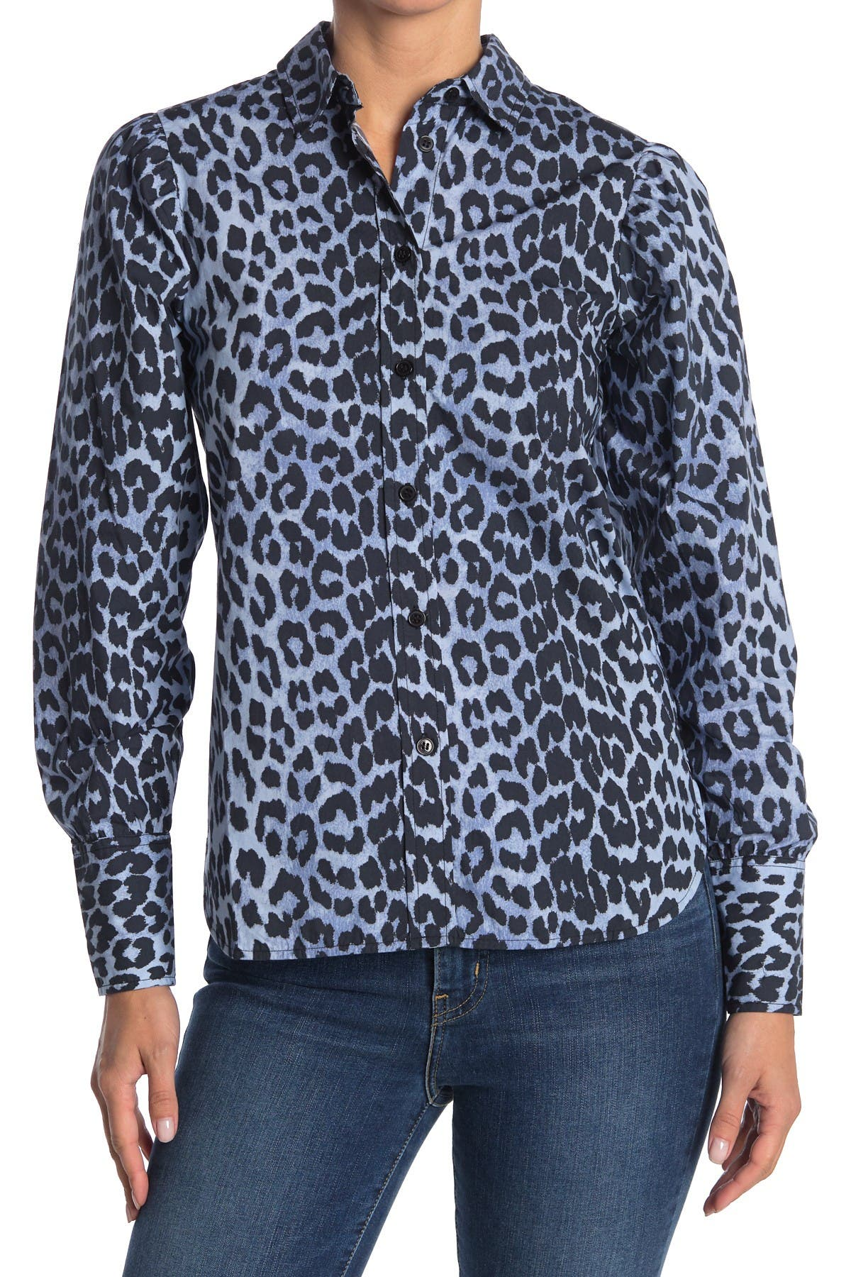 Image of GANNI Printed Cotton Poplin Shirt
