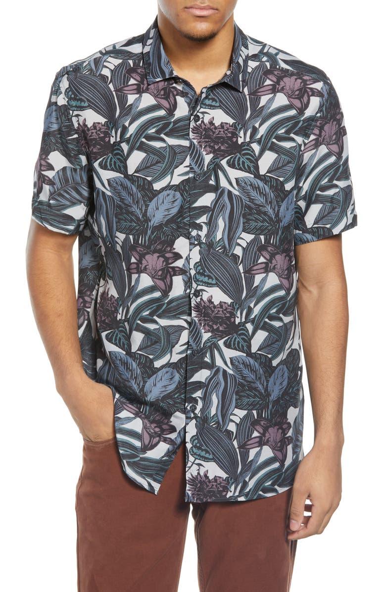 TOPMAN Leaf Print Short Sleeve Button-Up Shirt, Main, color, IVORY MULTI