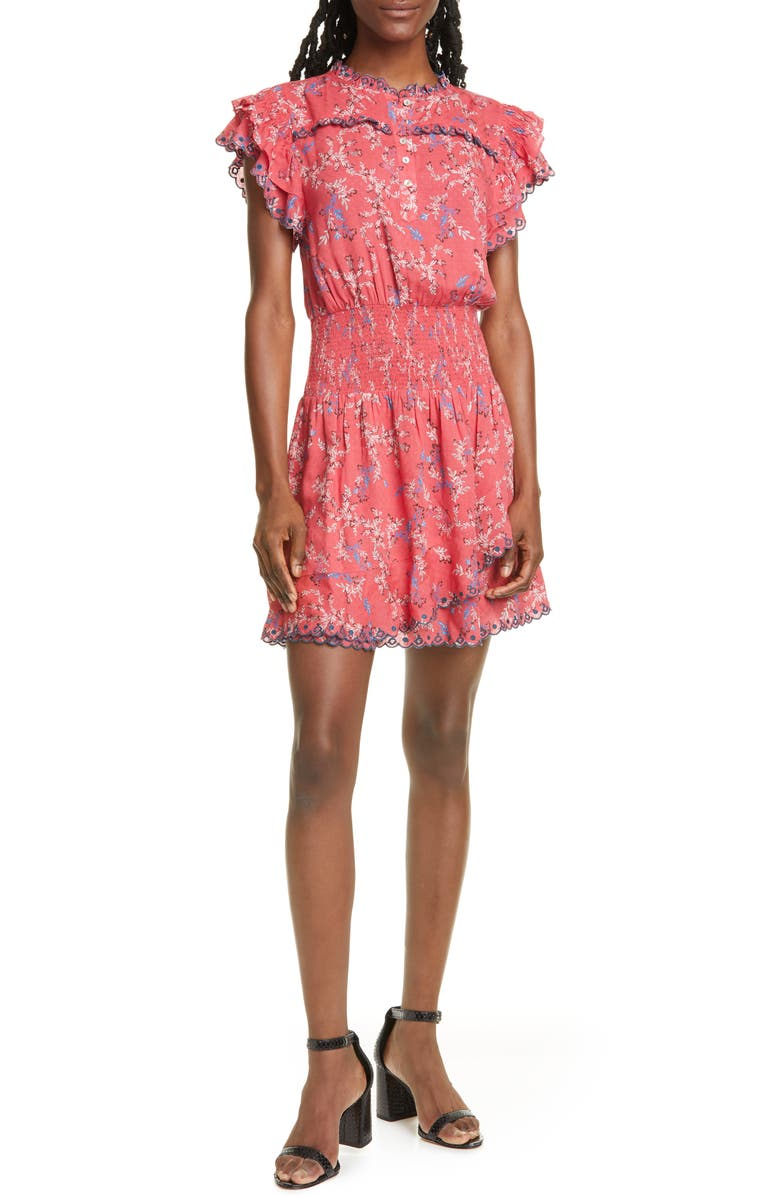 DOLAN Samantha Floral Embroidery Ruffle Minidress, Main, color, RASPBERRY FLOWERING VINE