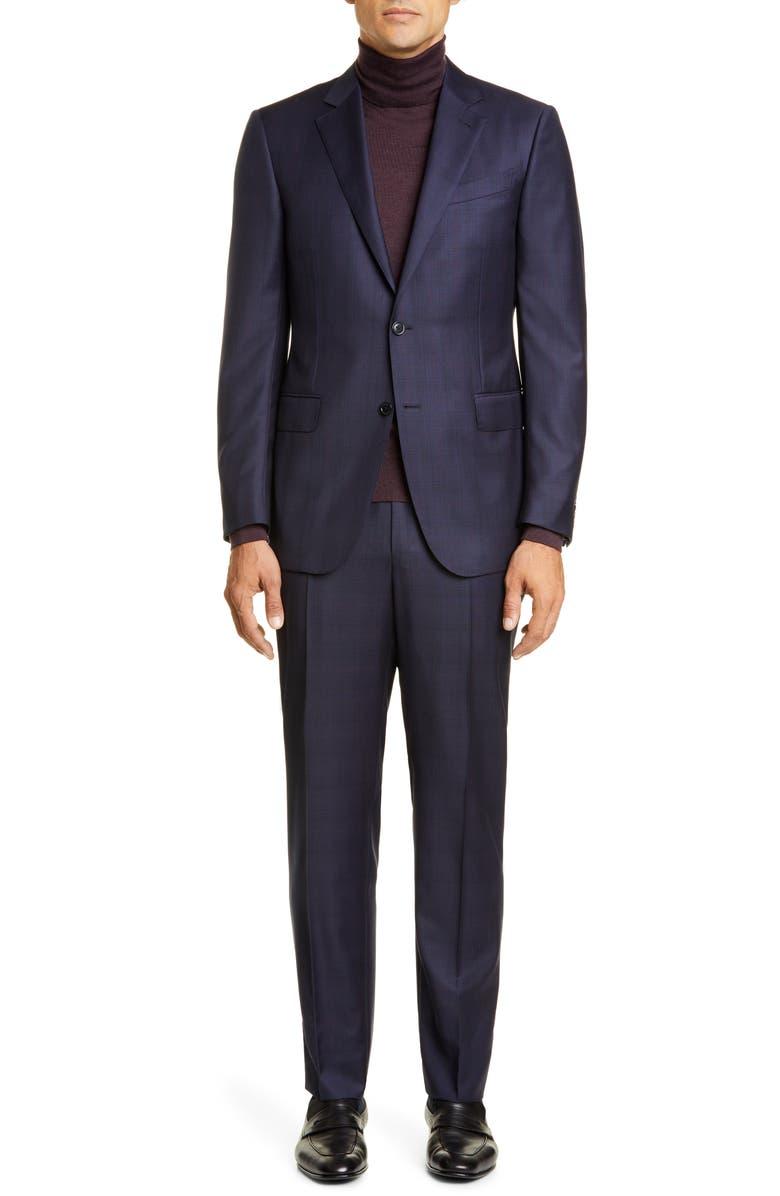 ERMENEGILDO ZEGNA Classic Fit Plaid Wool Suit, Main, color, 416