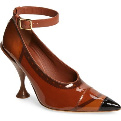 Burberry Brecon Ankle Strap Pointed Toe Pump, Brown