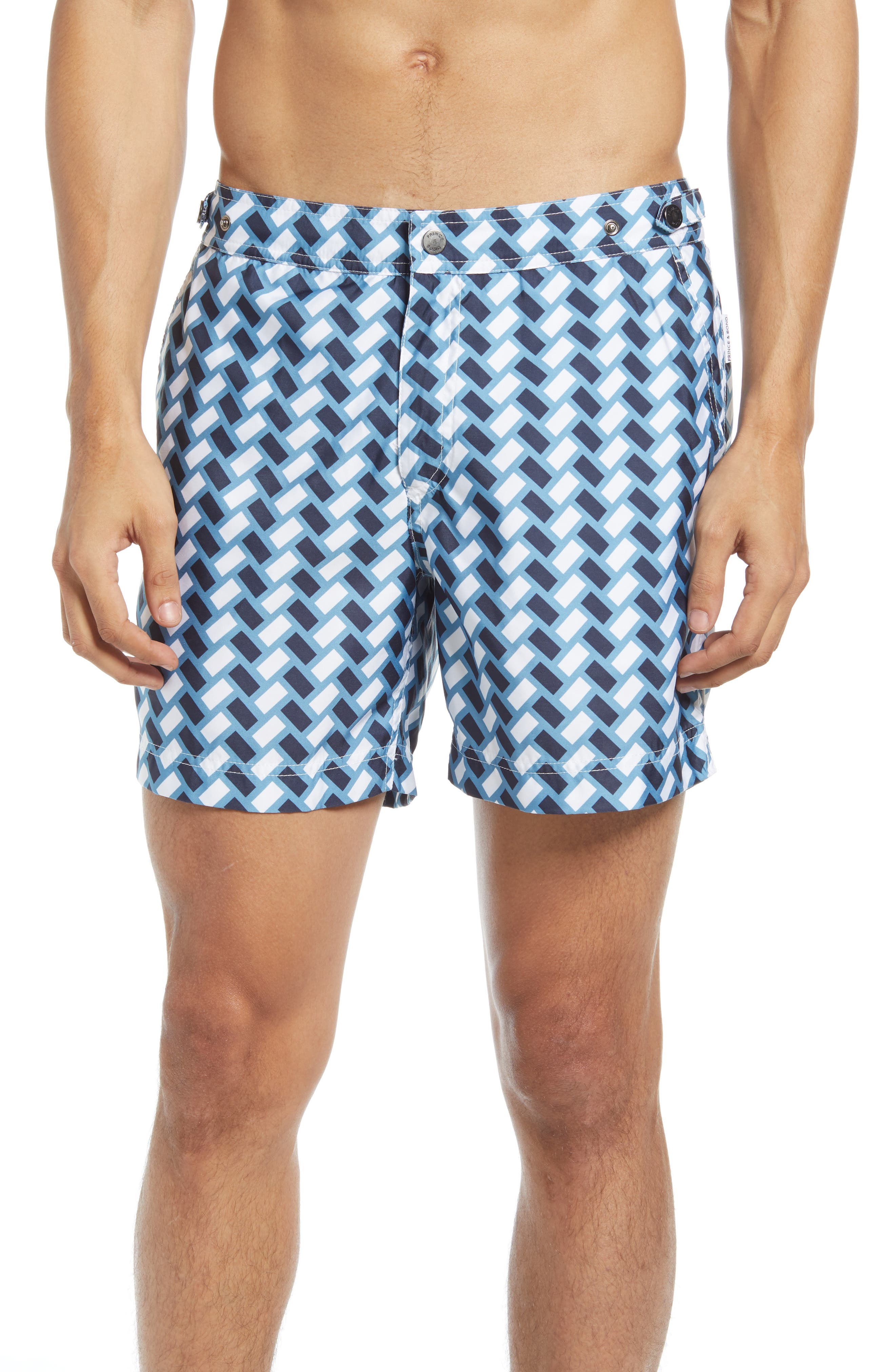 Vintage Men's Swimsuits – 1930s, 1940s, 1950s History Mens Prince  Bond Retro Tile Print Hybrid Nylon Swim Trunks Size 36 - Blue $175.00 AT vintagedancer.com
