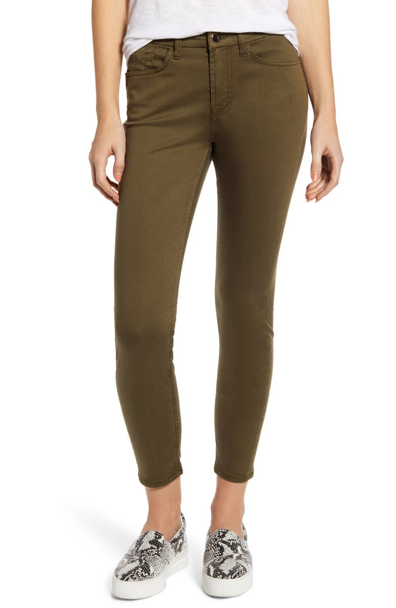 JEN7 BY 7 FOR ALL MANKIND Sateen Ankle Skinny Jeans, Main, color, ARMY