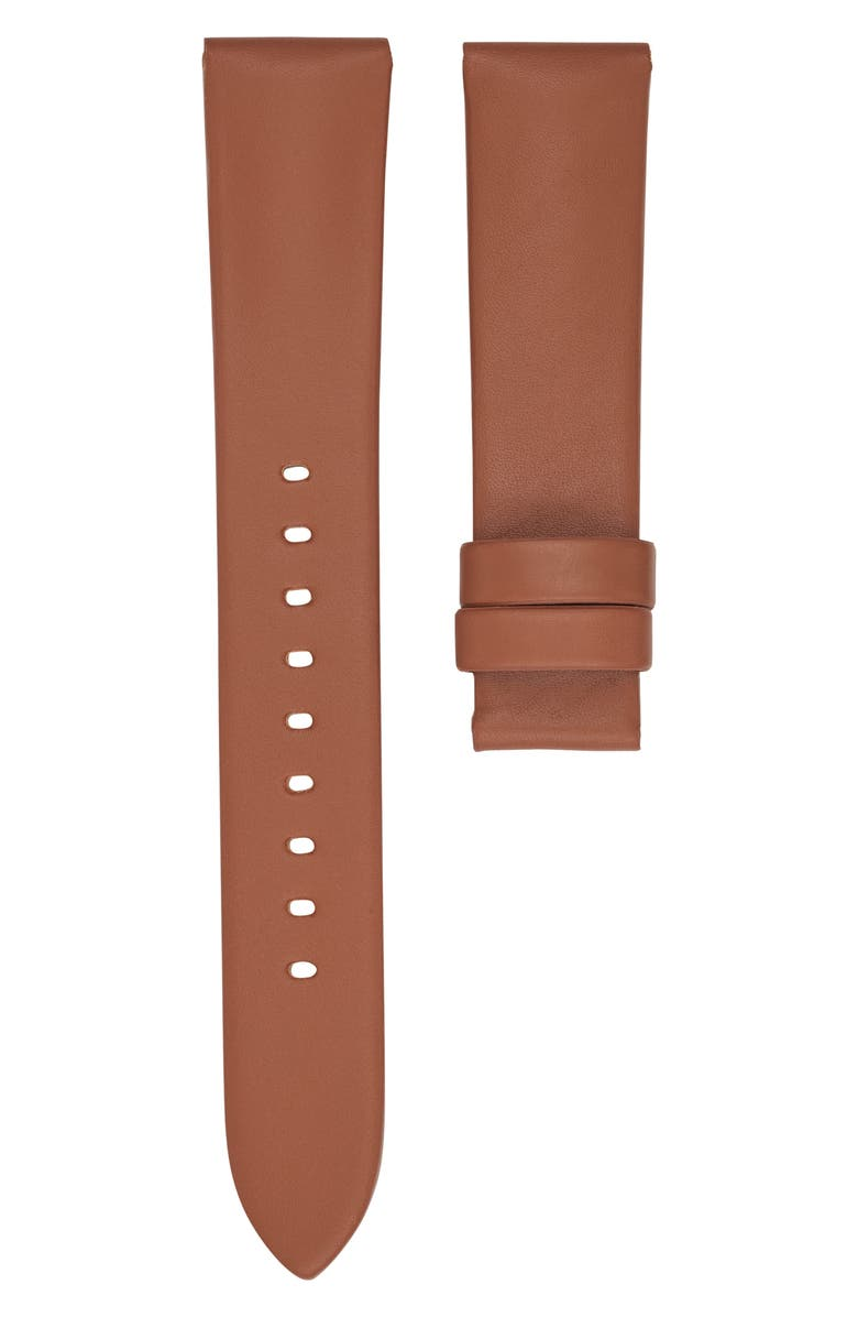 MICHAEL KORS Runway Leather Watch Strap, Main, color, BROWN