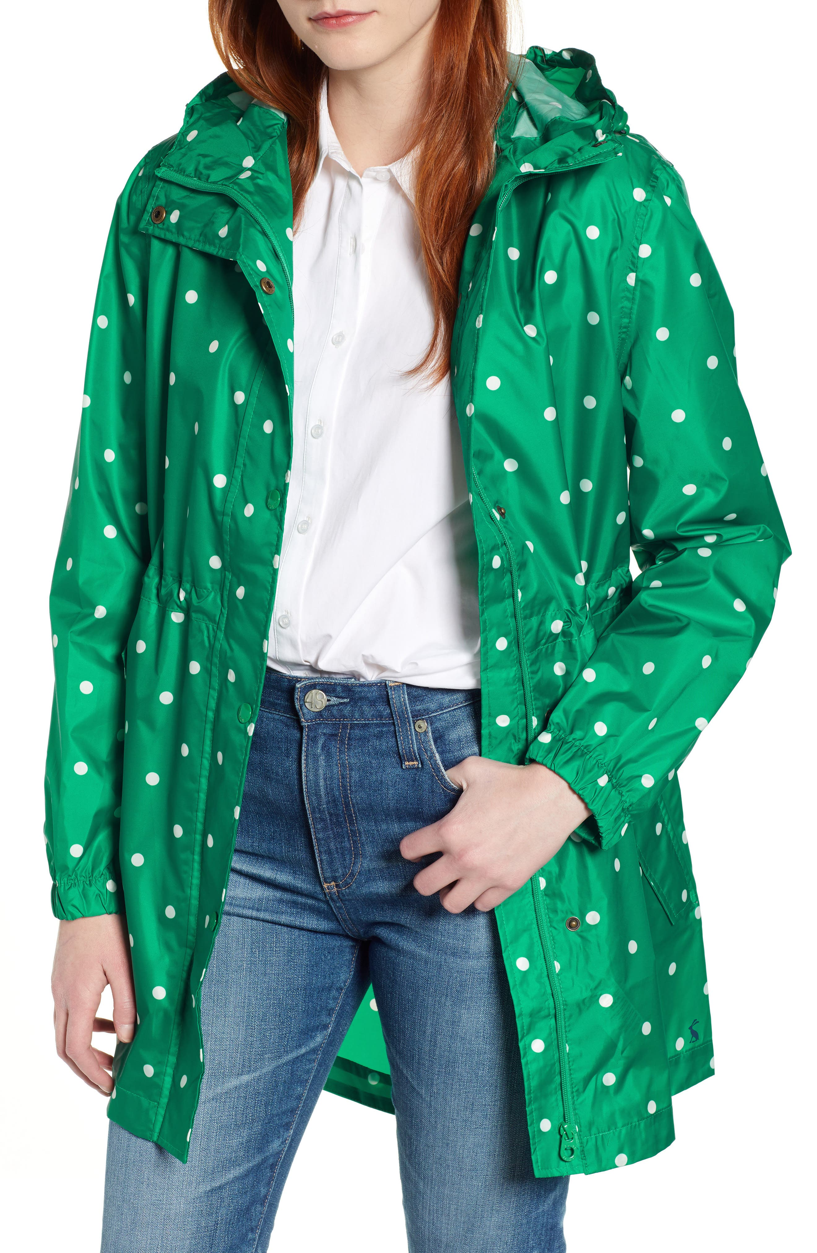 Go Lightly Waterproof Pack Away Hooded Jacket, Main, color, GREEN SPOT