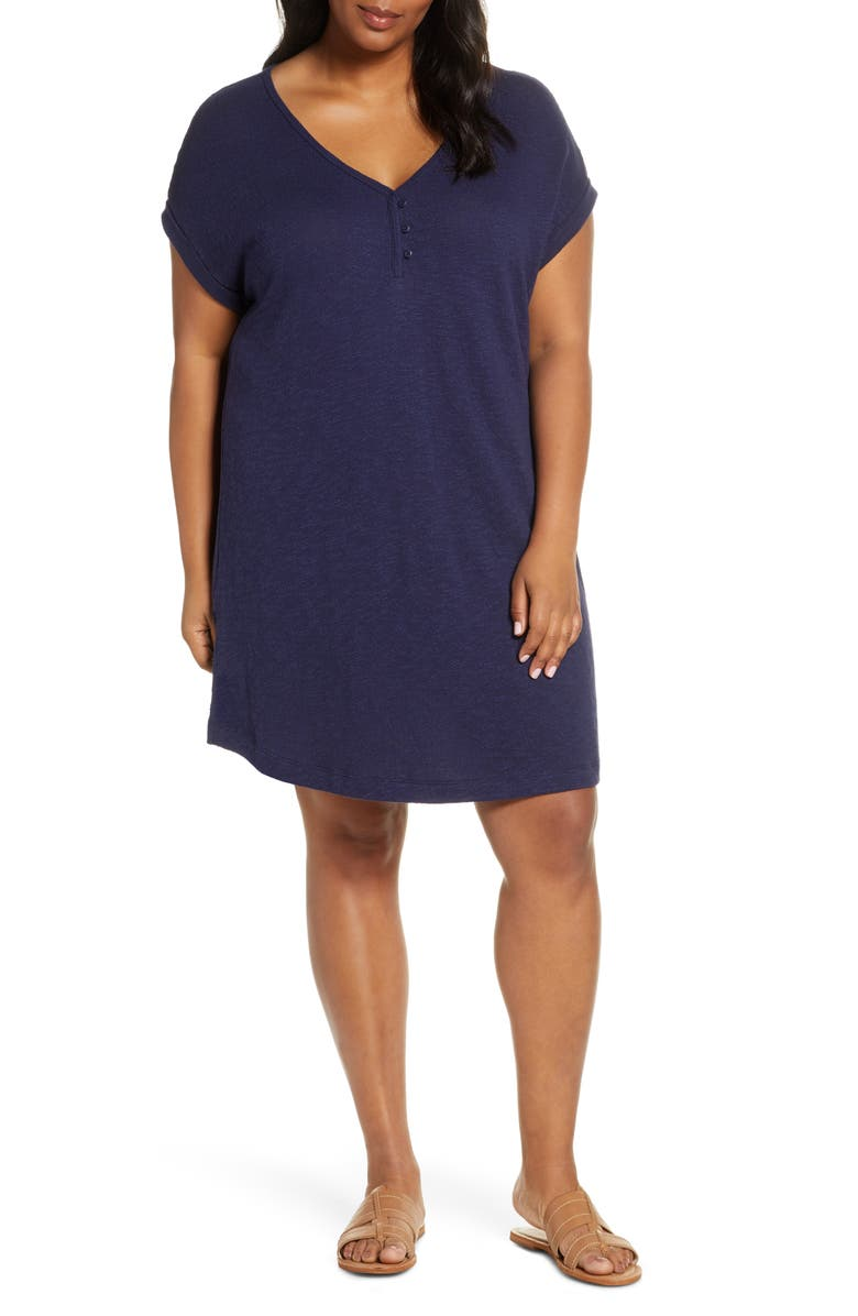 CASLON<SUP>®</SUP> V-Neck Cotton Tunic Top, Main, color, NAVY PEACOAT
