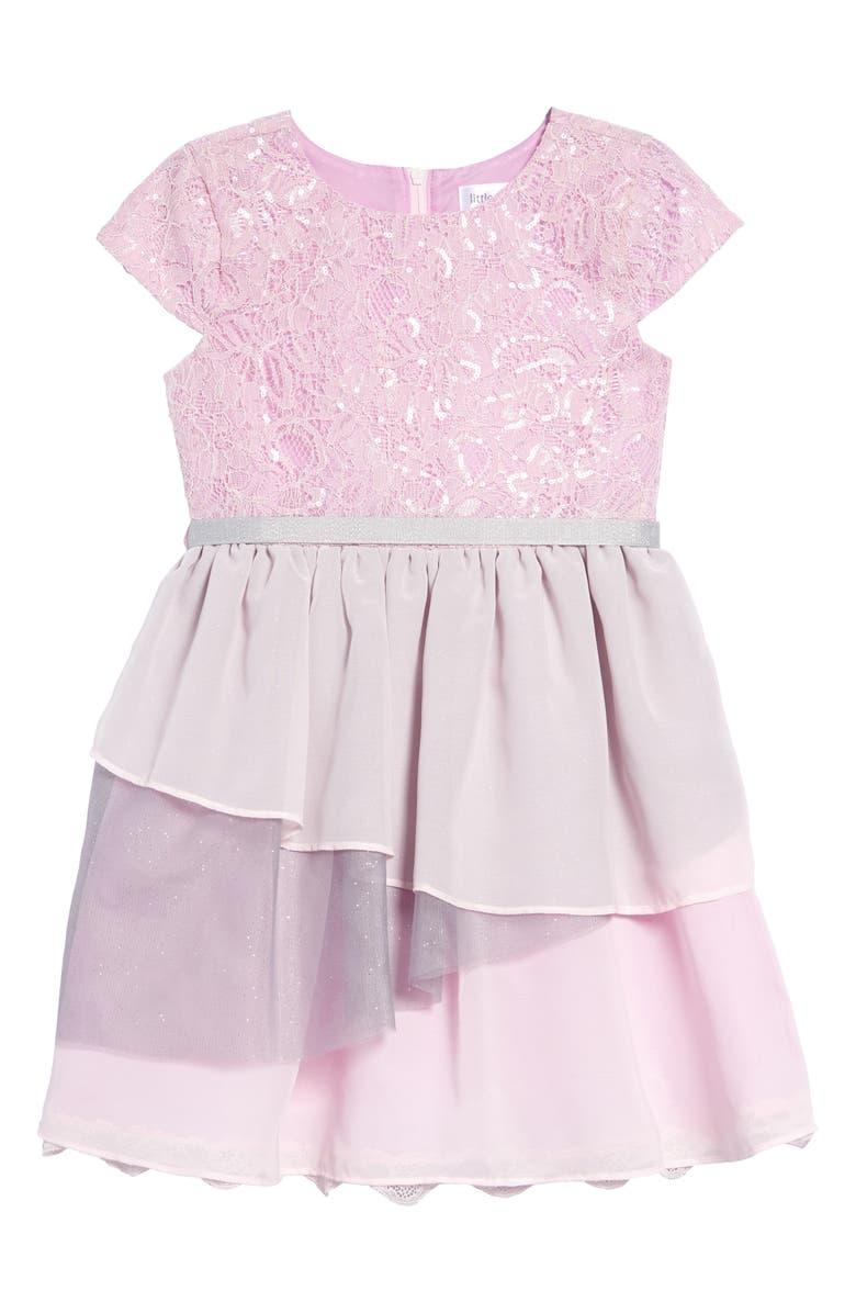 LITTLE ANGELS Cap Sleeve Lace & Chiffon Dress, Main, color, LAVENDER